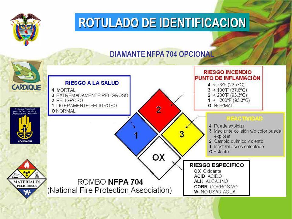 ROTULADO DE IDENTIFICACION DIAMANTE NFPA 704 OPCIONAL