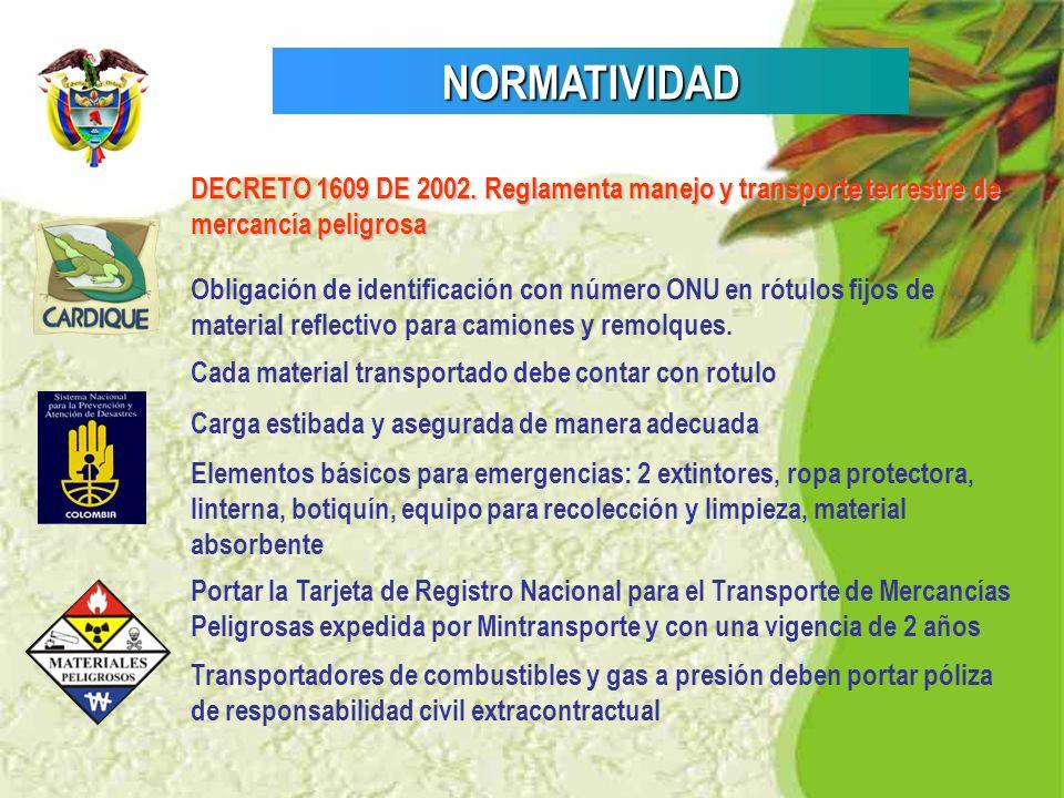 NORMATIVIDAD DECRETO 1609 DE 2002. Reglamenta manejo y transporte terrestre de mercancía peligrosa.