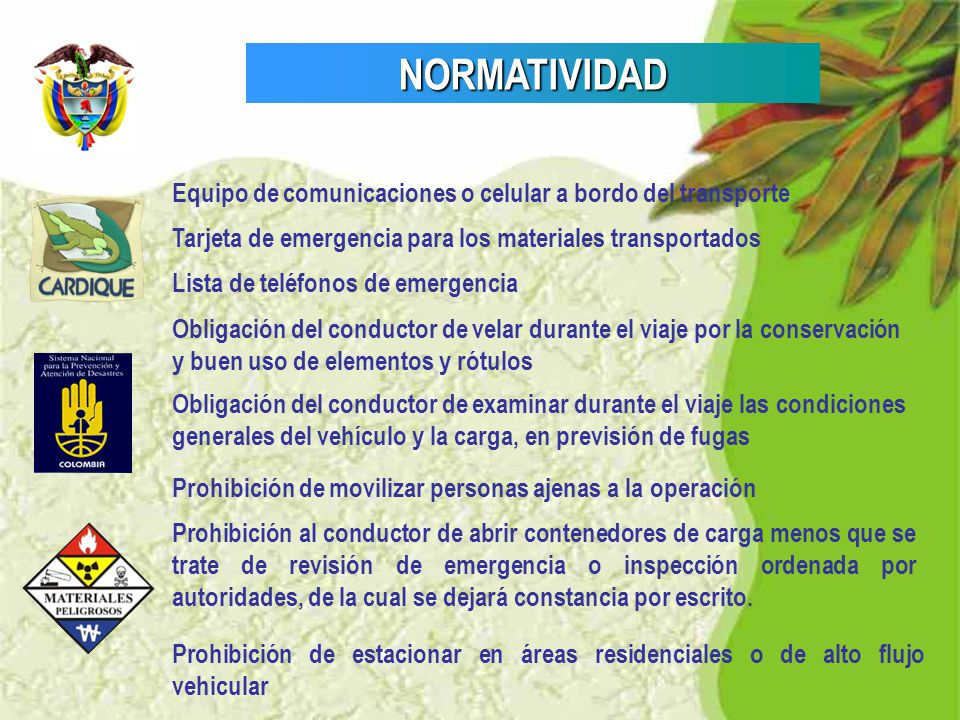 NORMATIVIDAD Equipo de comunicaciones o celular a bordo del transporte