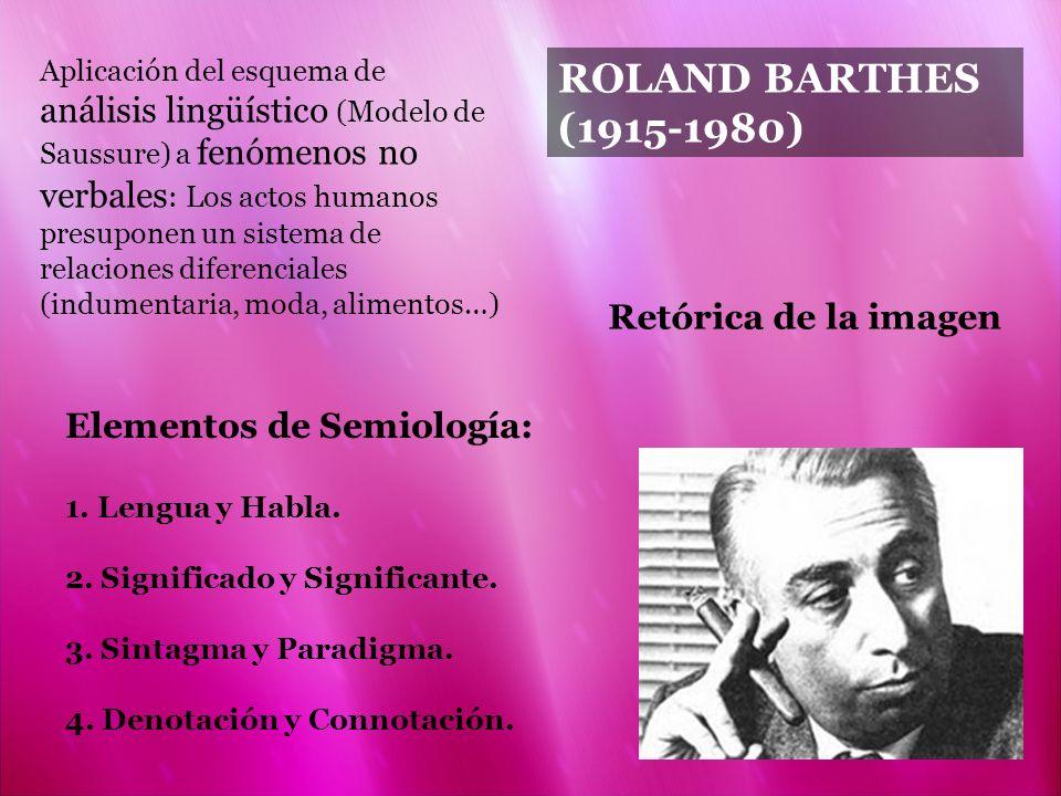 ROLAND BARTHES (1915-1980) Retórica de la imagen