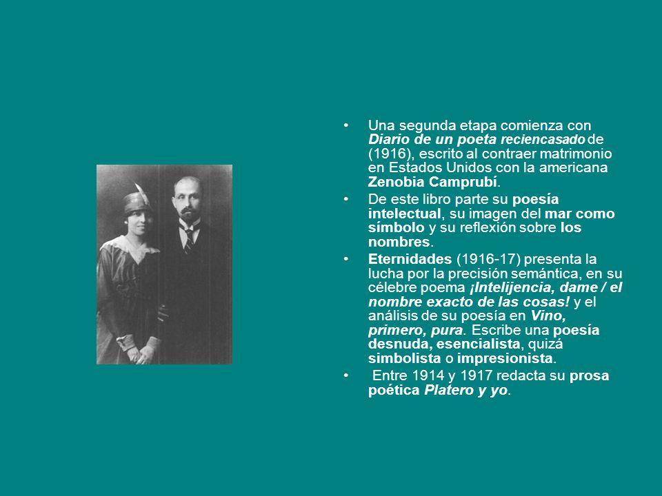 Una segunda etapa comienza con Diario de un poeta reciencasado de (1916), escrito al contraer matrimonio en Estados Unidos con la americana Zenobia Camprubí.