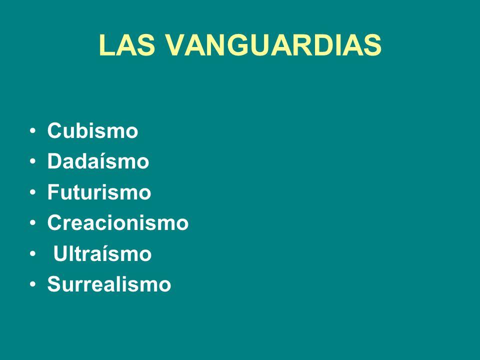 LAS VANGUARDIAS Cubismo Dadaísmo Futurismo Creacionismo Ultraísmo