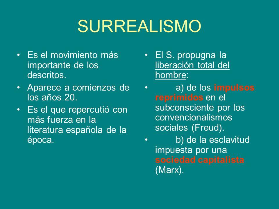 SURREALISMO Es el movimiento más importante de los descritos.