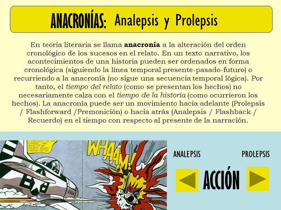 ACCIÓN ANACRONÍAS: Analepsis y Prolepsis ANALEPSIS PROLEPSIS