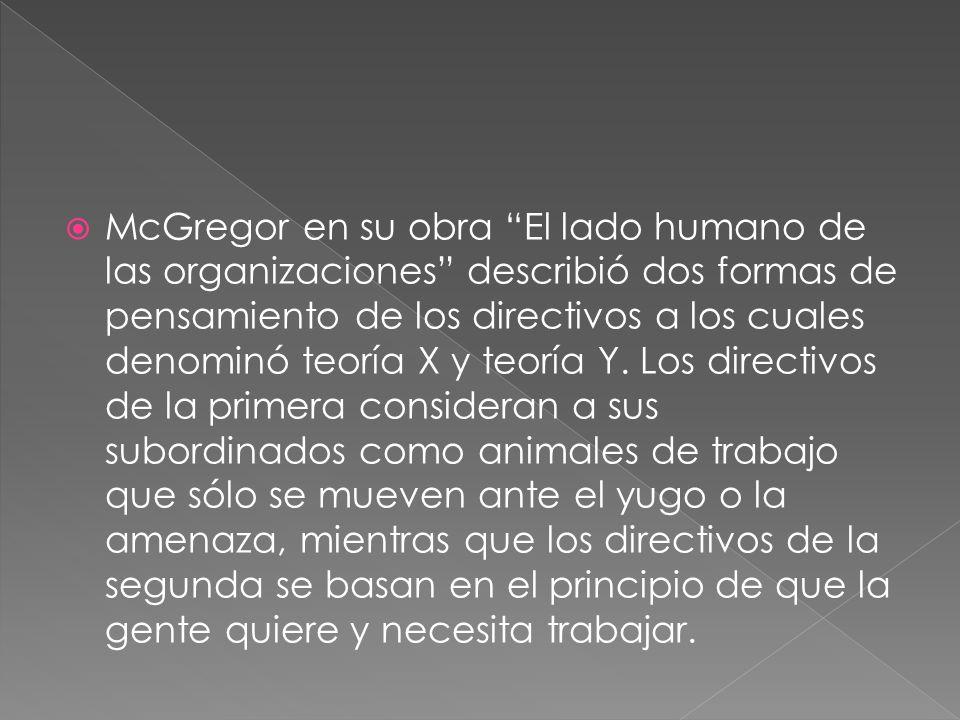 McGregor en su obra El lado humano de las organizaciones describió dos formas de pensamiento de los directivos a los cuales denominó teoría X y teoría Y.