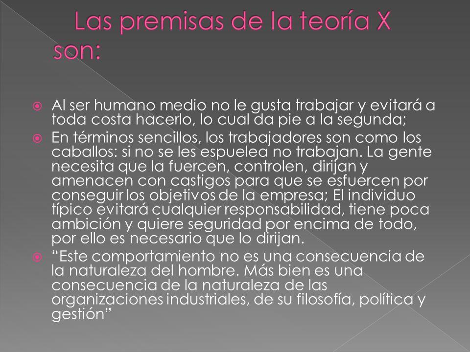 Las premisas de la teoría X son: