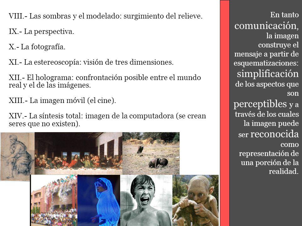 En tanto comunicación, la imagen construye el mensaje a partir de esquematizaciones: simplificación de los aspectos que son perceptibles y a través de los cuales la imagen puede ser reconocida como representación de una porción de la realidad.