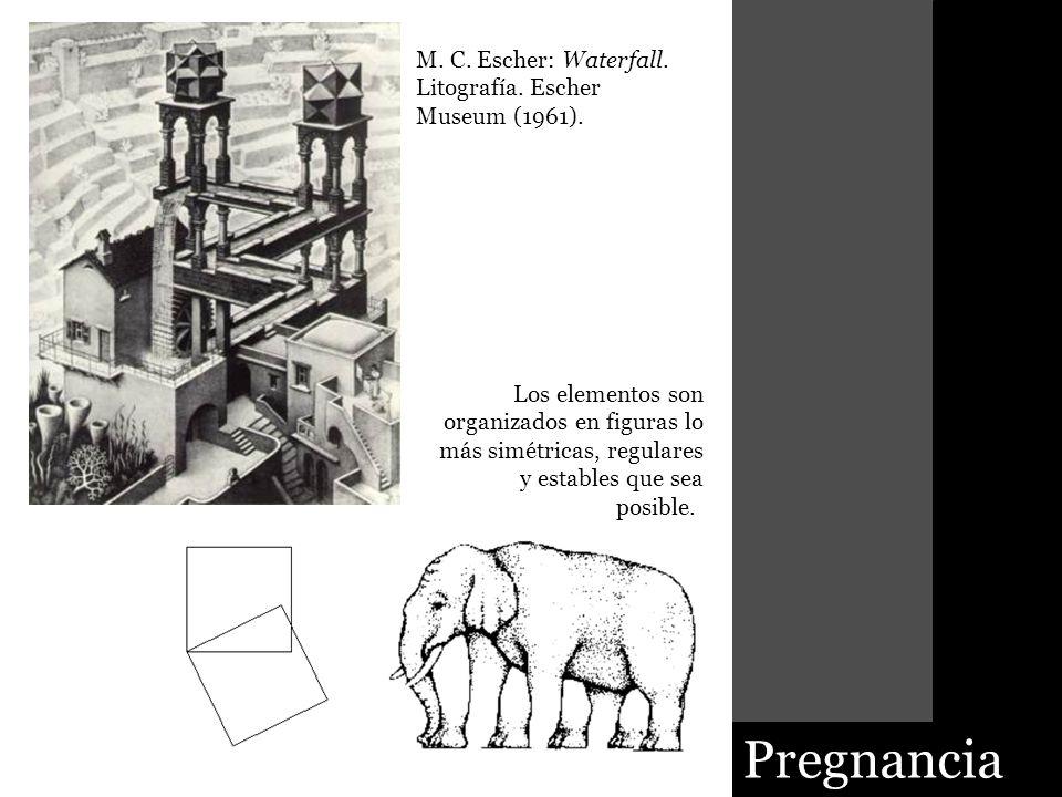 Pregnancia M. C. Escher: Waterfall. Litografía. Escher Museum (1961).