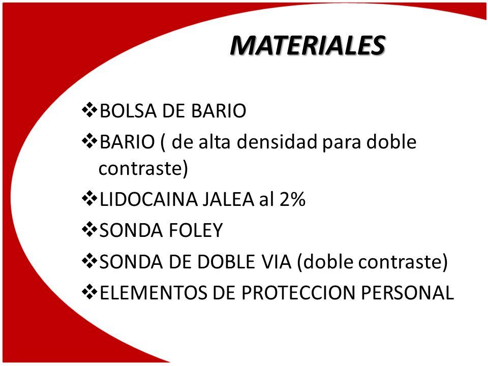 MATERIALES BOLSA DE BARIO
