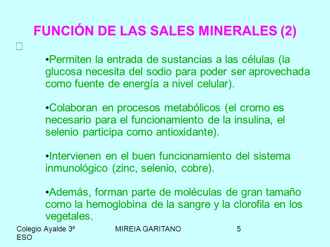 FUNCIÓN DE LAS SALES MINERALES (2)