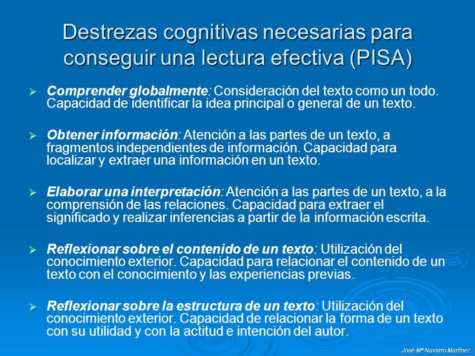 Destrezas cognitivas necesarias para conseguir una lectura efectiva (PISA)