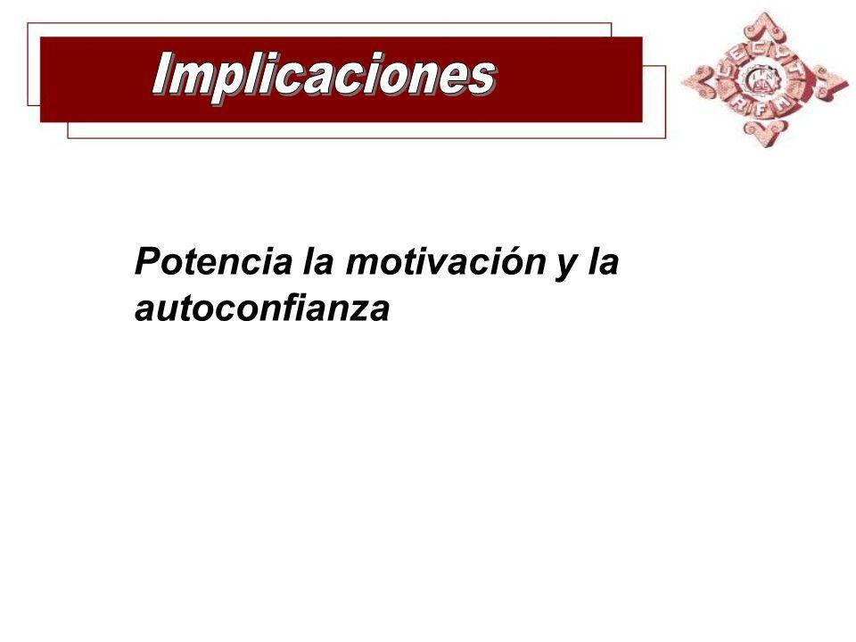 Implicaciones Potencia la motivación y la autoconfianza