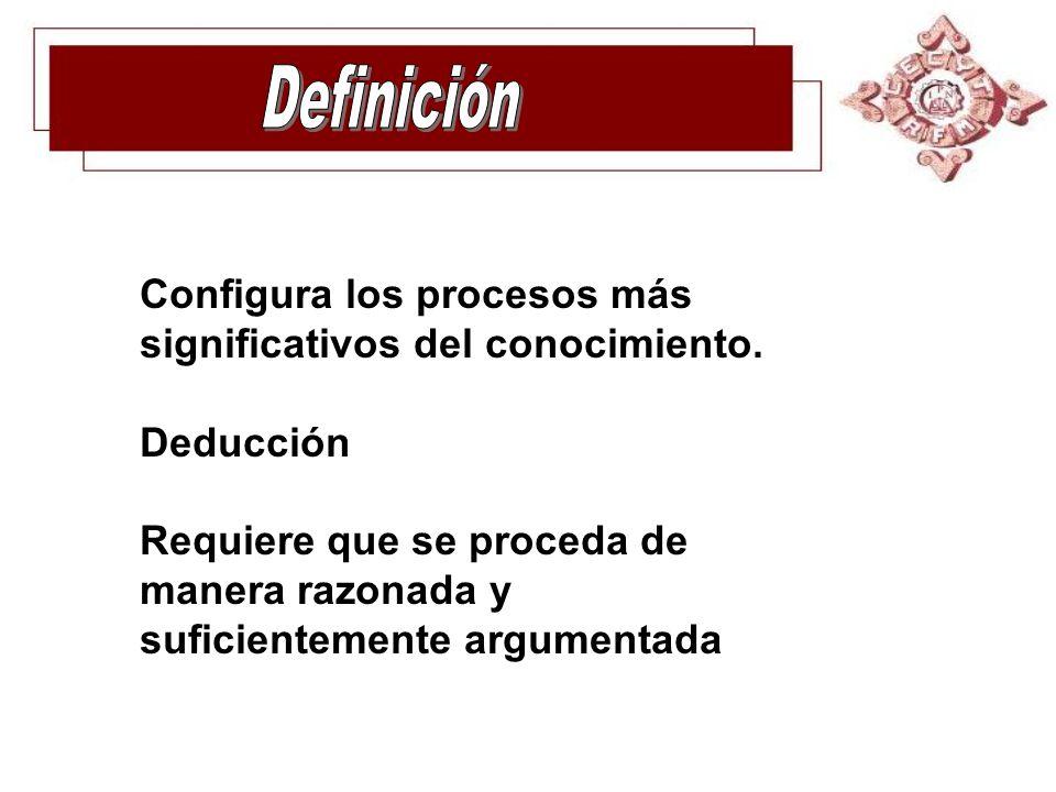 Definición Configura los procesos más significativos del conocimiento.