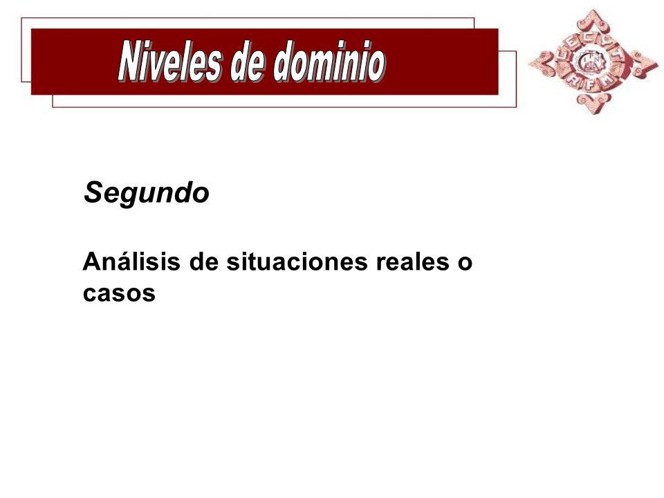 Niveles de dominio Segundo Análisis de situaciones reales o casos