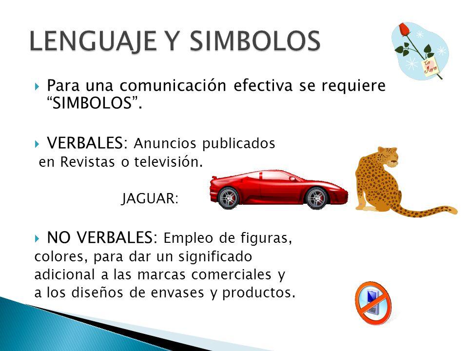 LENGUAJE Y SIMBOLOS Para una comunicación efectiva se requiere SIMBOLOS . VERBALES: Anuncios publicados.