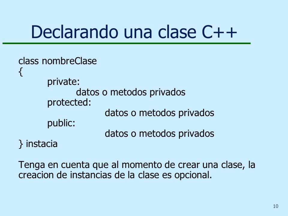 Declarando una clase C++