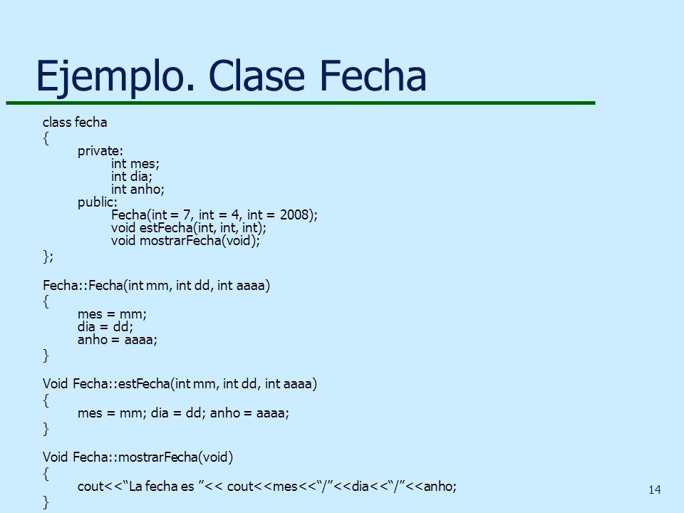 Ejemplo. Clase Fecha class fecha