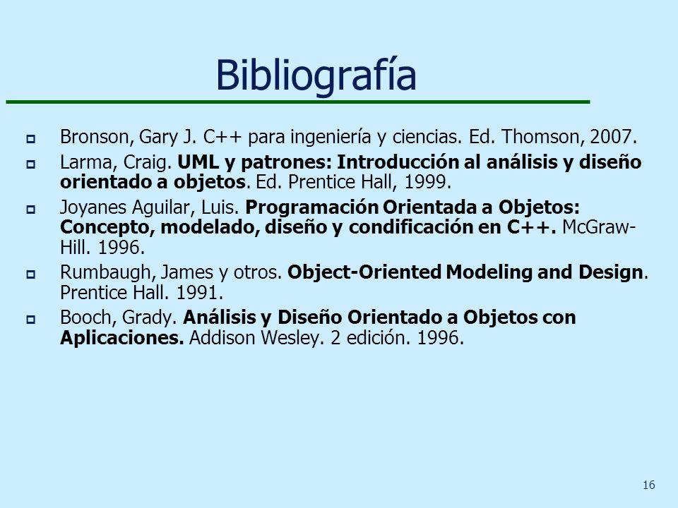 Bibliografía Bronson, Gary J. C++ para ingeniería y ciencias. Ed. Thomson, 2007.