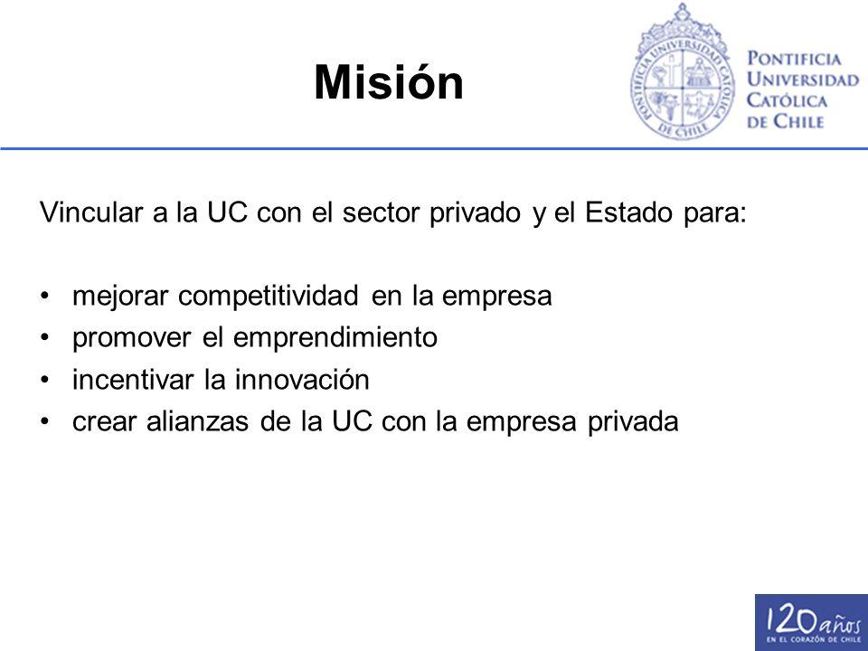 Misión Vincular a la UC con el sector privado y el Estado para: