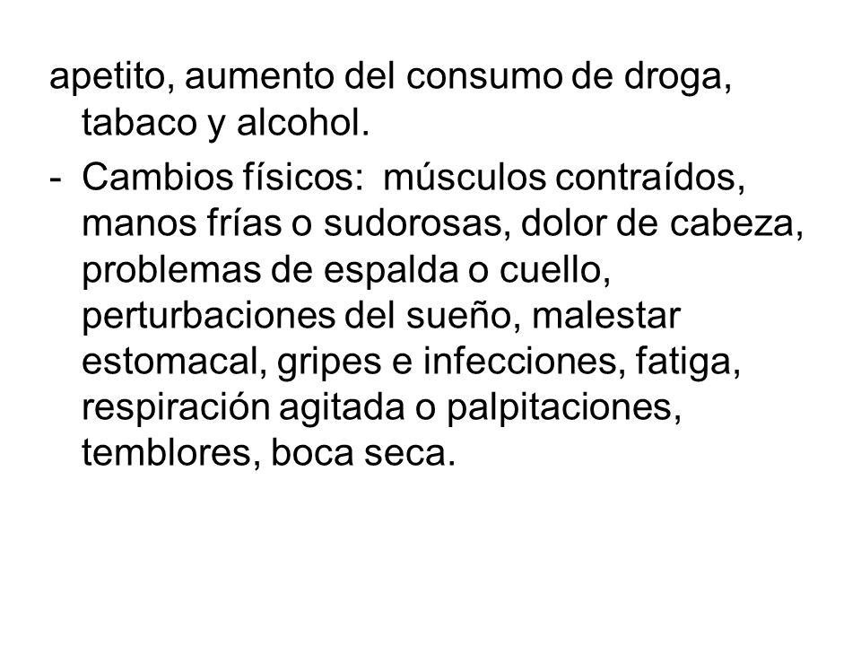 apetito, aumento del consumo de droga, tabaco y alcohol.