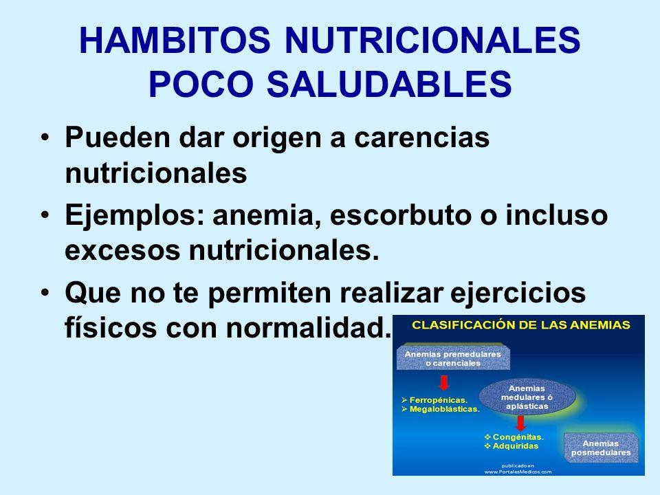 HAMBITOS NUTRICIONALES POCO SALUDABLES