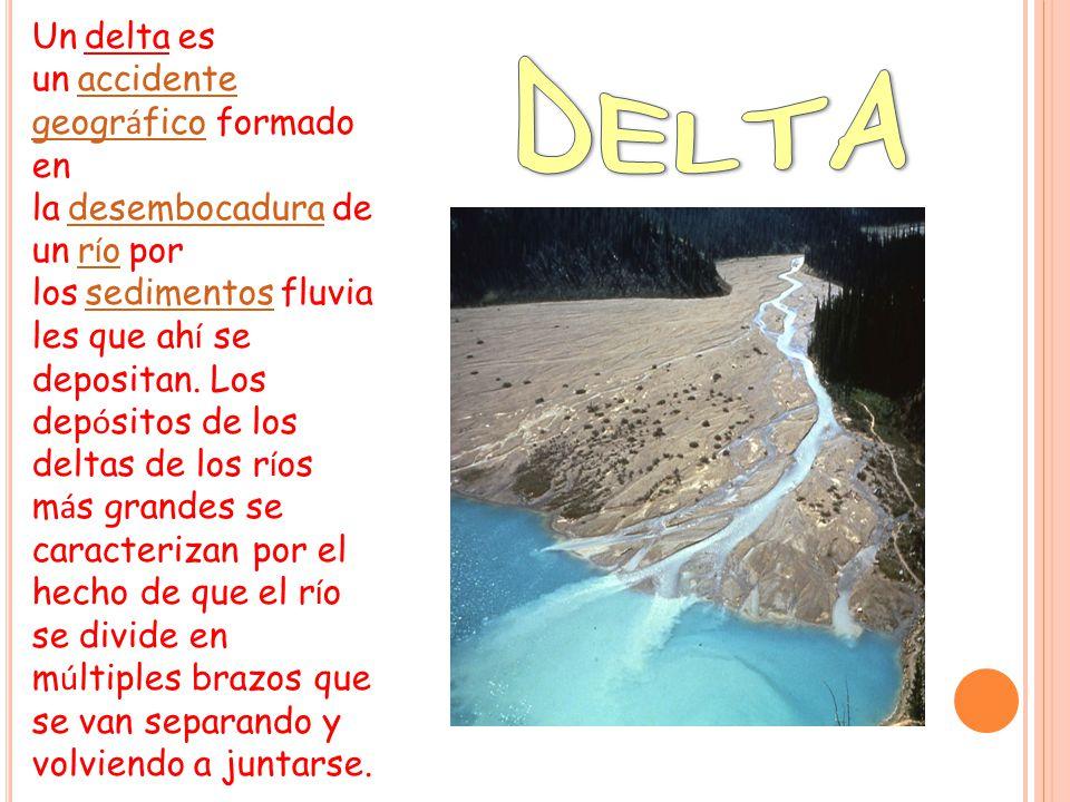 Un delta es un accidente geográfico formado en la desembocadura de un río por los sedimentos fluviales que ahí se depositan. Los depósitos de los deltas de los ríos más grandes se caracterizan por el hecho de que el río se divide en múltiples brazos que se van separando y volviendo a juntarse.