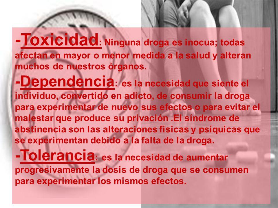 -Toxicidad: Ninguna droga es inocua; todas afectan en mayor o menor medida a la salud y alteran muchos de nuestros órganos.