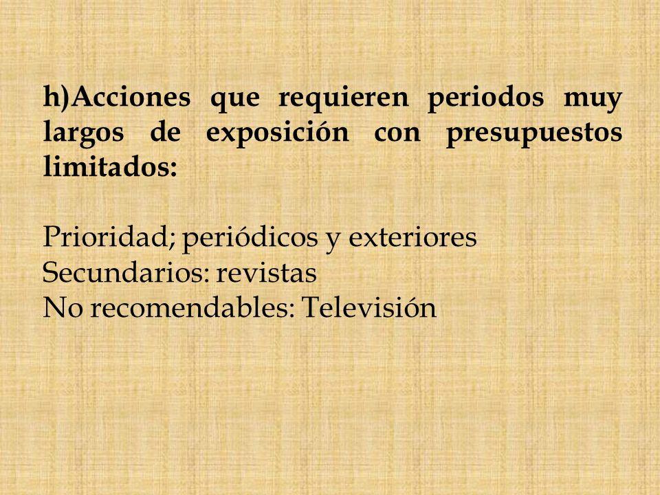 h)Acciones que requieren periodos muy largos de exposición con presupuestos limitados:
