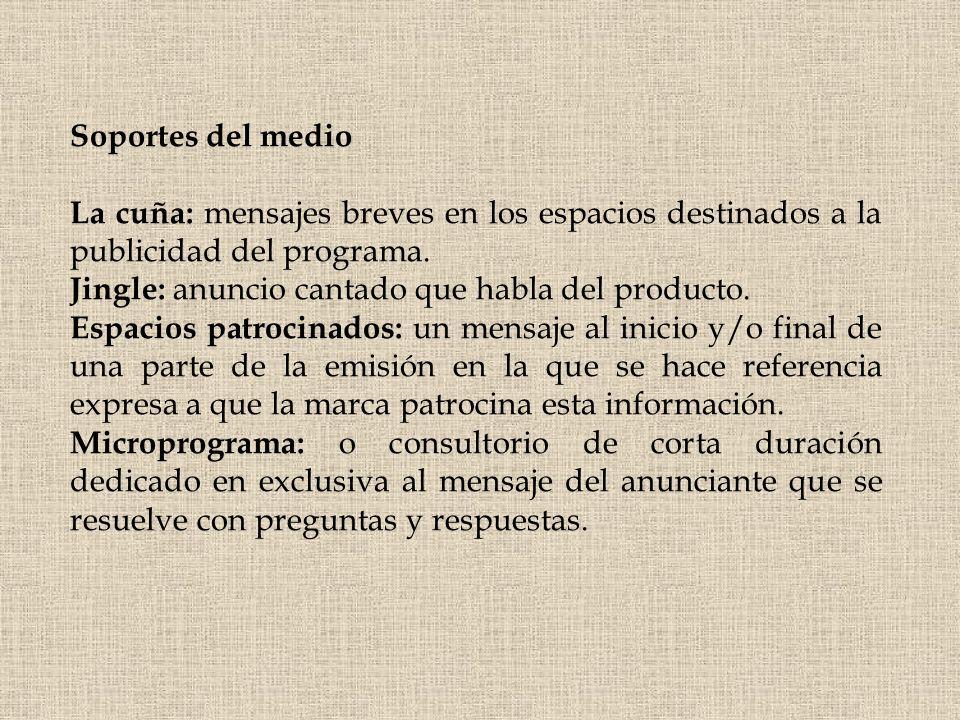 Soportes del medio La cuña: mensajes breves en los espacios destinados a la publicidad del programa.
