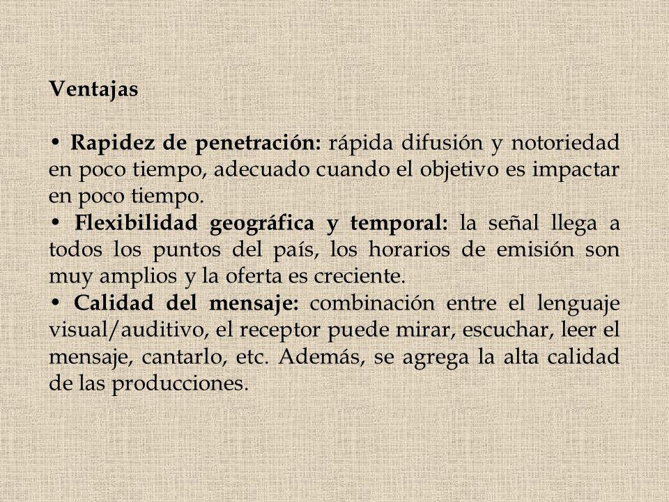 Ventajas • Rapidez de penetración: rápida difusión y notoriedad en poco tiempo, adecuado cuando el objetivo es impactar en poco tiempo.