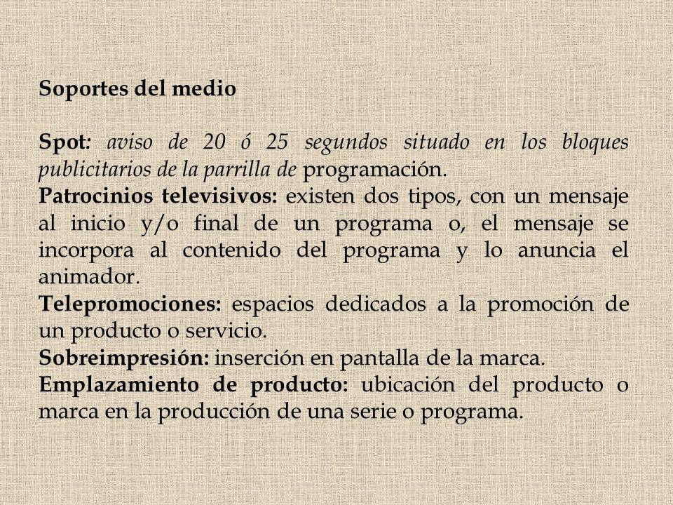 Soportes del medio Spot: aviso de 20 ó 25 segundos situado en los bloques publicitarios de la parrilla de programación.
