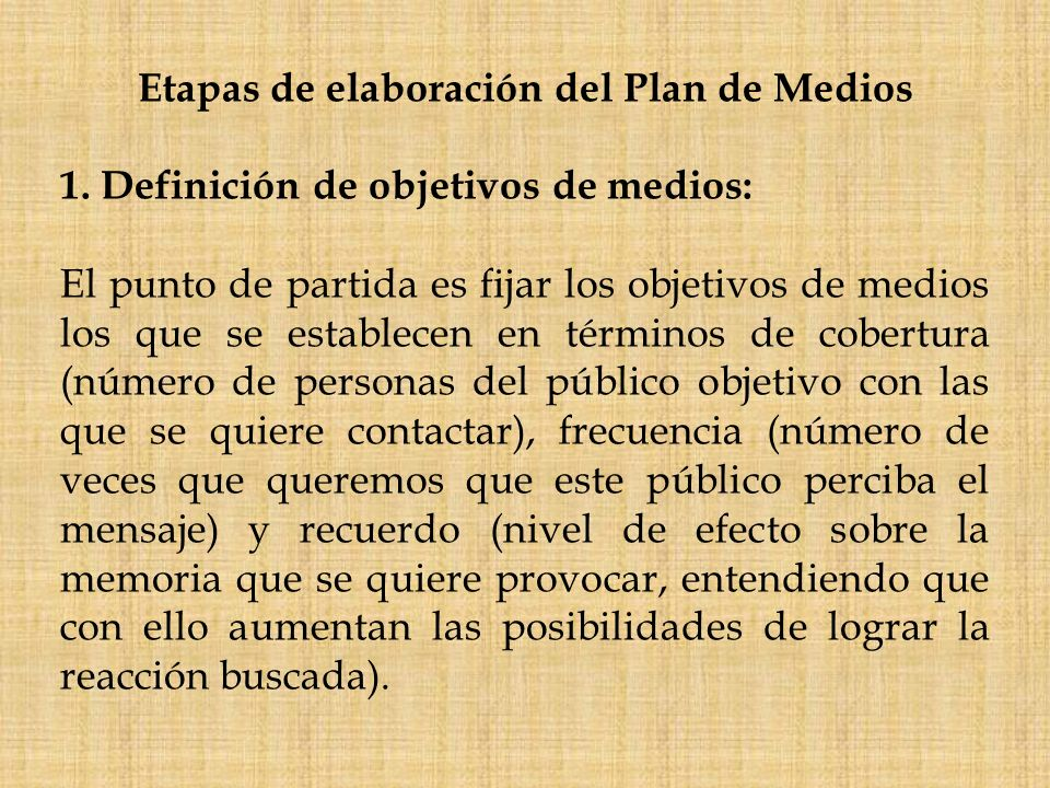 Etapas de elaboración del Plan de Medios
