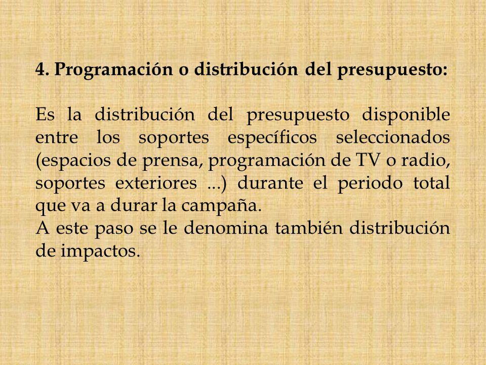 4. Programación o distribución del presupuesto: