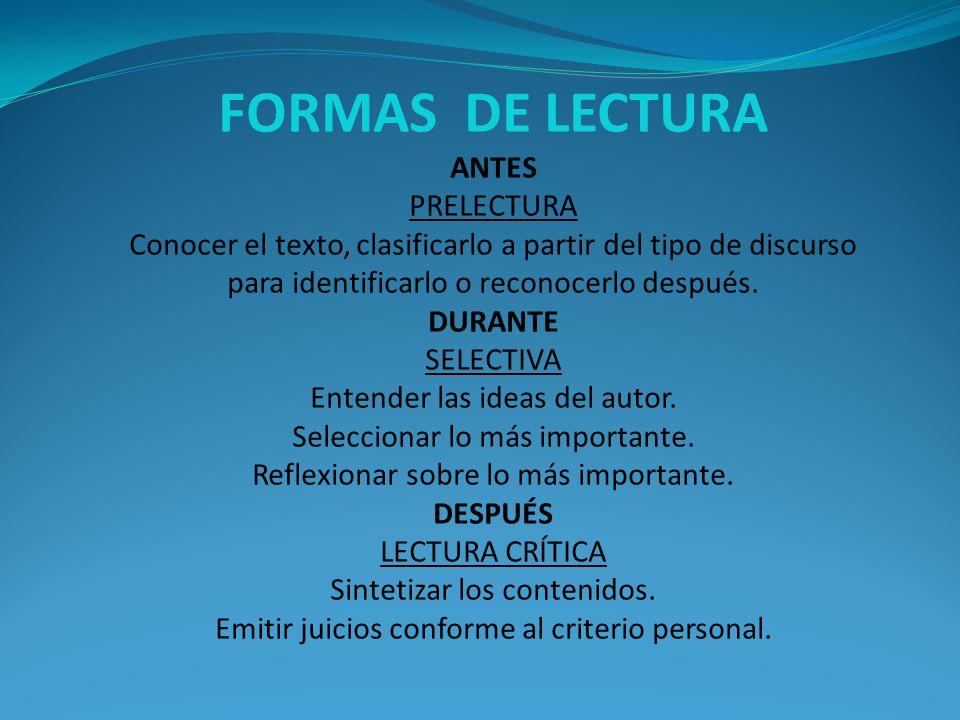 FORMAS DE LECTURA ANTES PRELECTURA Conocer el texto, clasificarlo a partir del tipo de discurso para identificarlo o reconocerlo después.