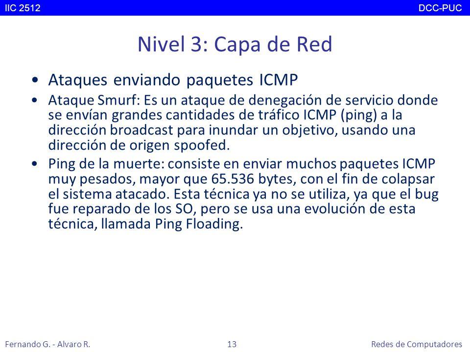 Nivel 3: Capa de Red Ataques enviando paquetes ICMP