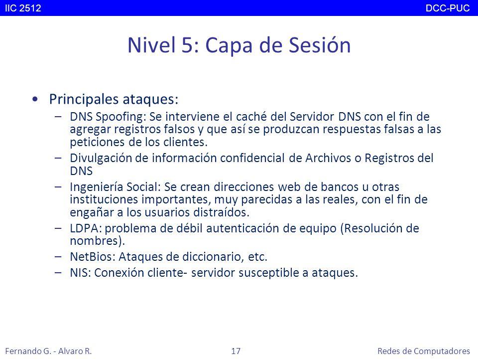 Nivel 5: Capa de Sesión Principales ataques: