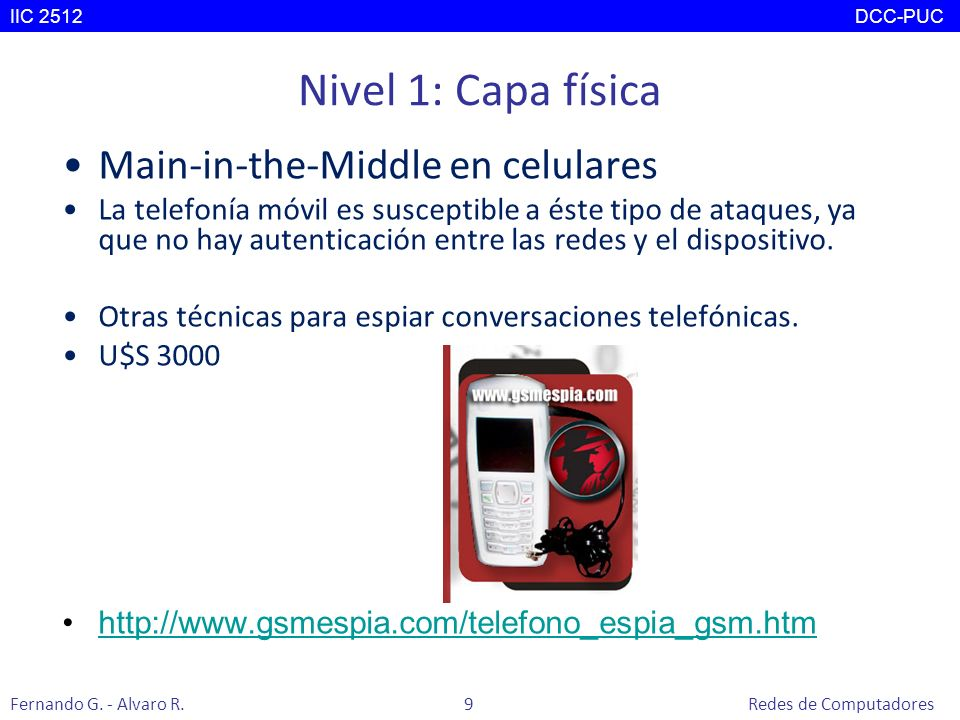 Nivel 1: Capa física Main-in-the-Middle en celulares