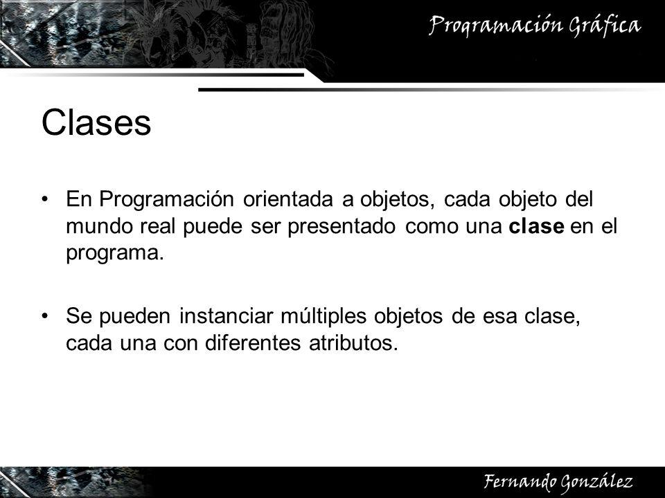 ClasesEn Programación orientada a objetos, cada objeto del mundo real puede ser presentado como una clase en el programa.