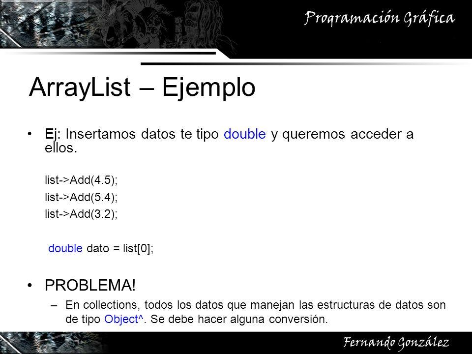 ArrayList – Ejemplo PROBLEMA!