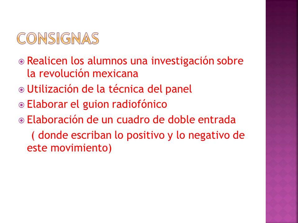 CONSIGNAS Realicen los alumnos una investigación sobre la revolución mexicana. Utilización de la técnica del panel.