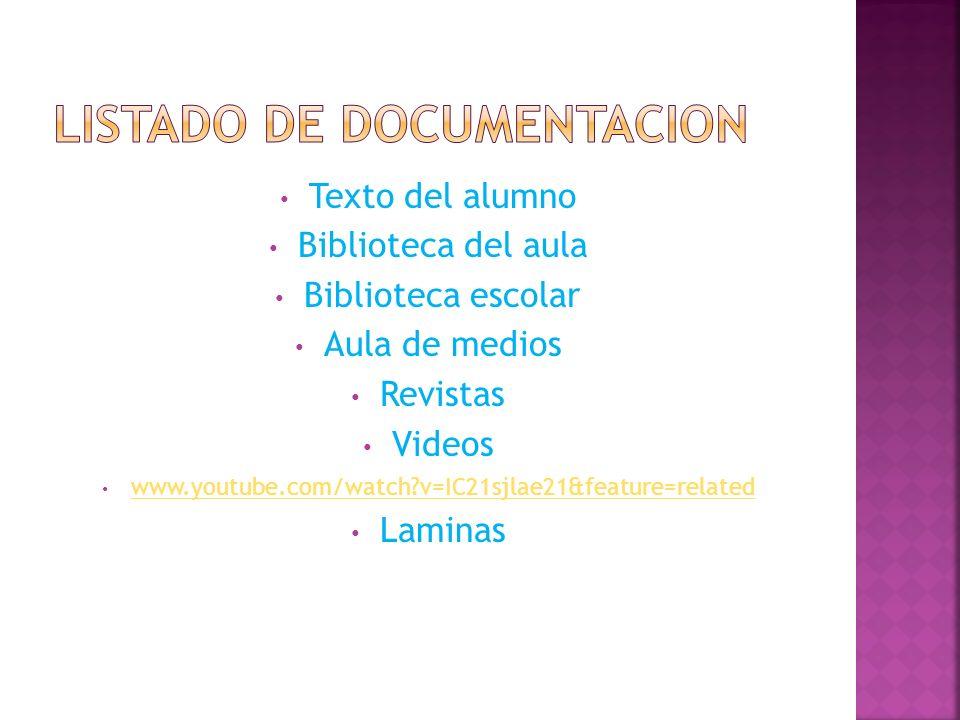 LISTADO DE DOCUMENTACION