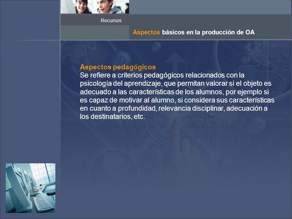 Recursos Aspectos básicos en la producción de OA. Aspectos pedagógicos.