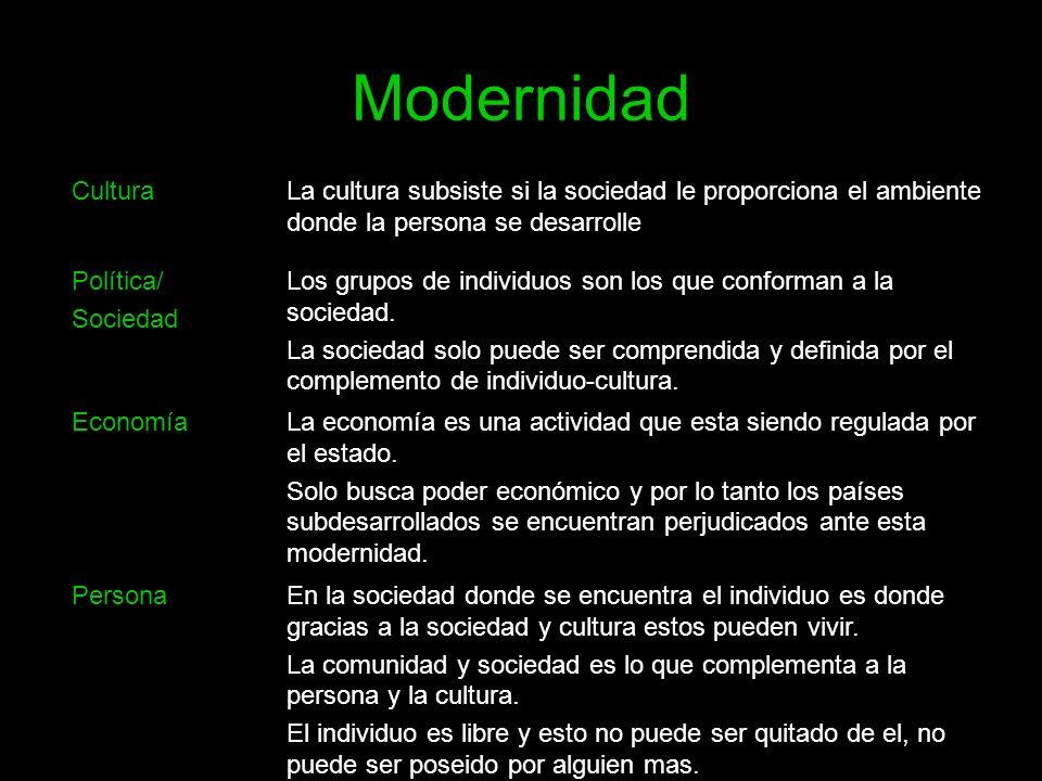 Modernidad Cultura. La cultura subsiste si la sociedad le proporciona el ambiente donde la persona se desarrolle.
