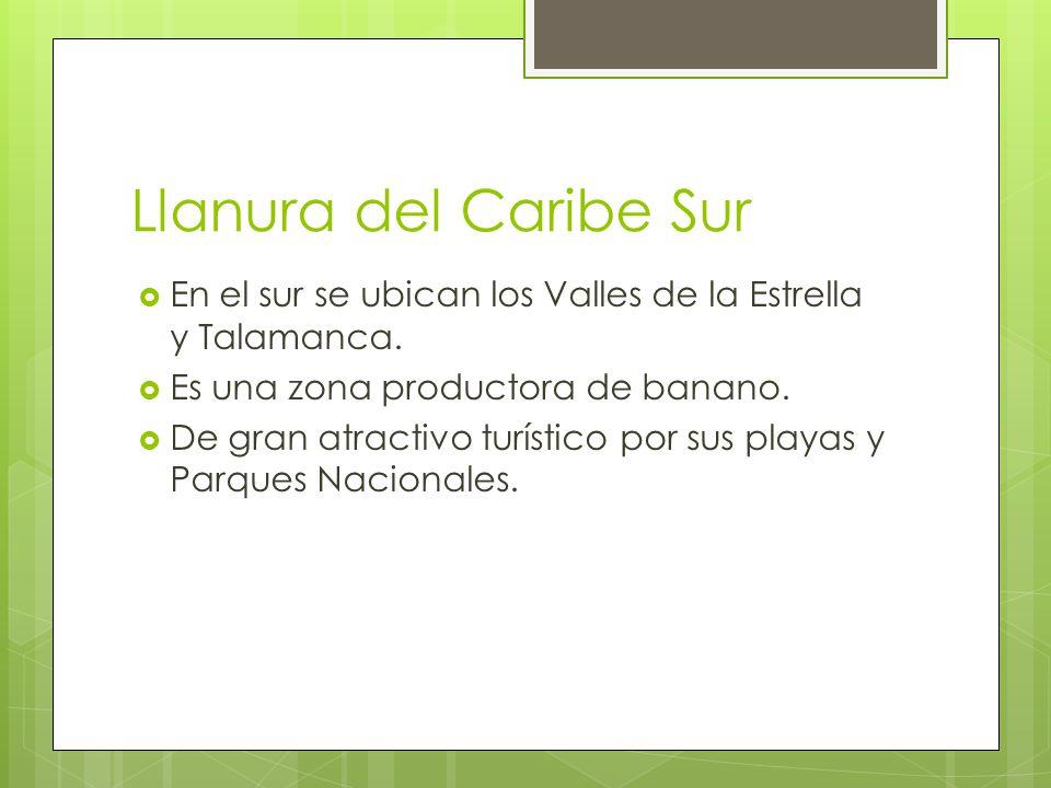 Llanura del Caribe Sur En el sur se ubican los Valles de la Estrella y Talamanca. Es una zona productora de banano.