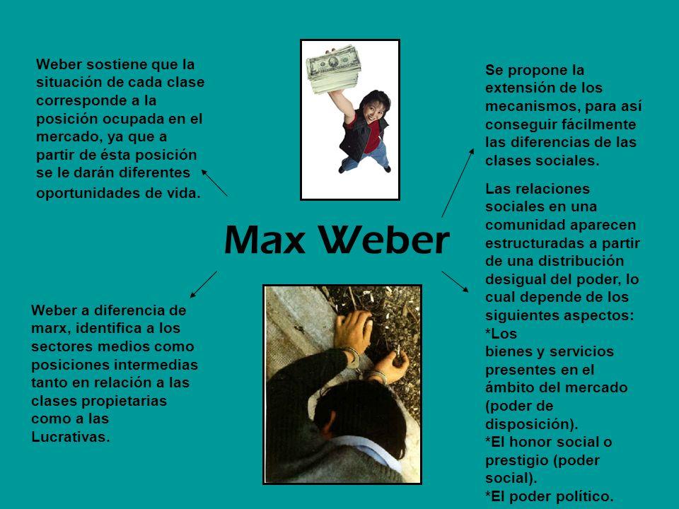 Weber sostiene que la situación de cada clase corresponde a la posición ocupada en el mercado, ya que a partir de ésta posición se le darán diferentes oportunidades de vida.