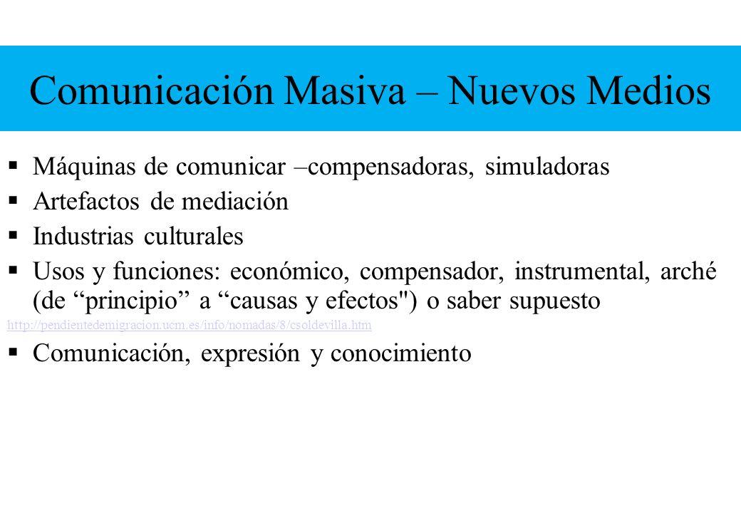 Comunicación Masiva – Nuevos Medios