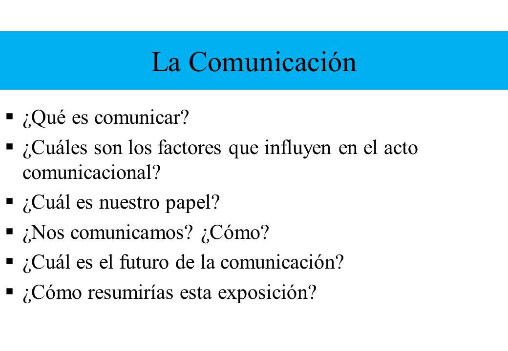 La Comunicación ¿Qué es comunicar