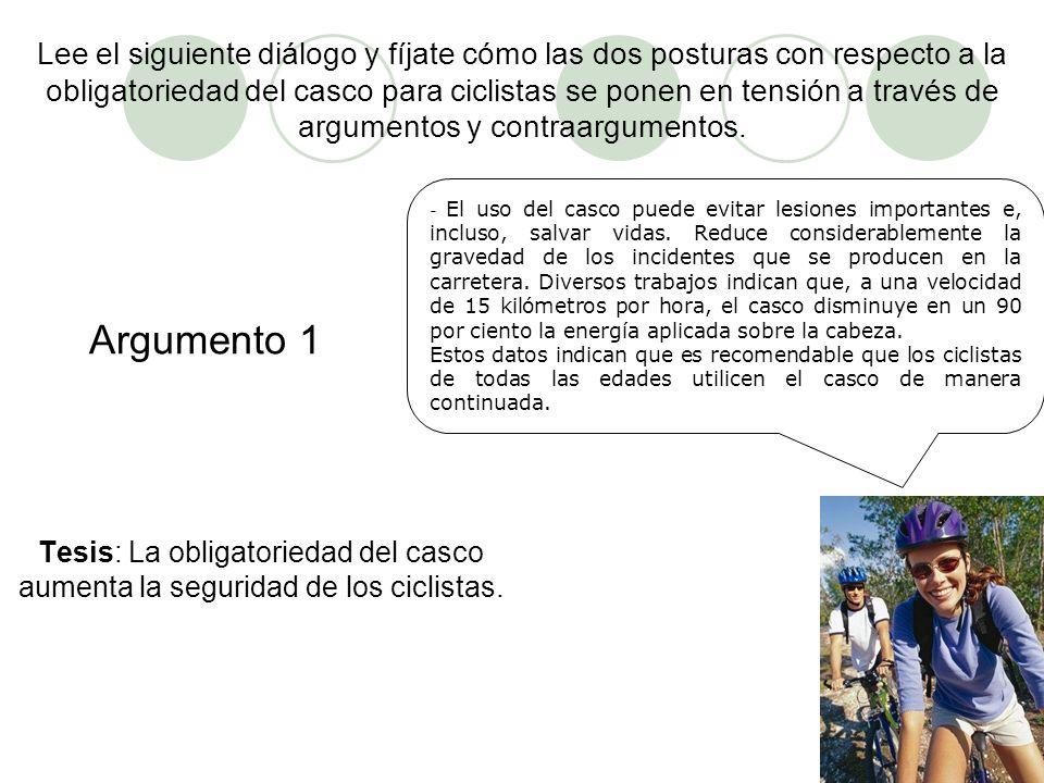 Lee el siguiente diálogo y fíjate cómo las dos posturas con respecto a la obligatoriedad del casco para ciclistas se ponen en tensión a través de argumentos y contraargumentos.