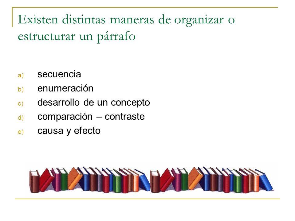 Existen distintas maneras de organizar o estructurar un párrafo