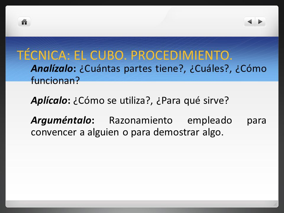 TÉCNICA: EL CUBO. PROCEDIMIENTO.
